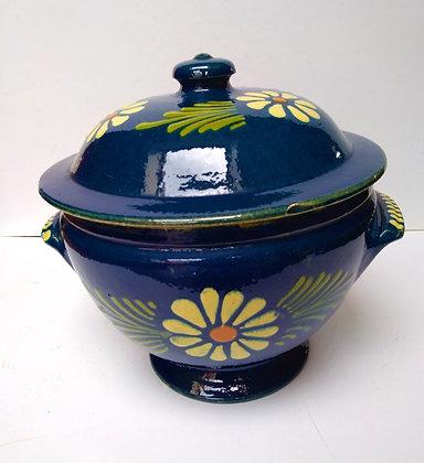 Soupière poterie alsacienne ancienne bleu nuit
