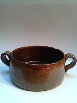 poterie ancienne terre cuite vernissée 2 anses