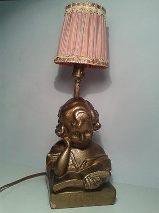 Lampe buste plâtre fillette à l'étude