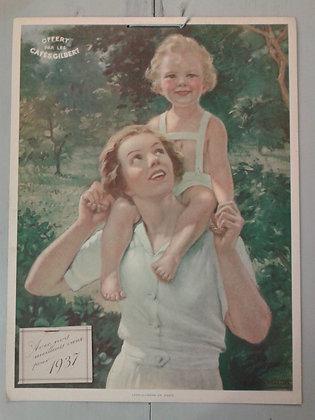 """Calendrier """"Café gilbert"""" 1937. Ref.0351"""