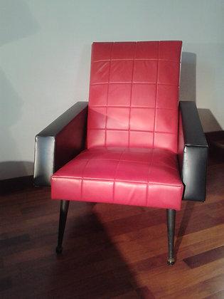 Paire de fauteuils vintage  skaï rouge et noir