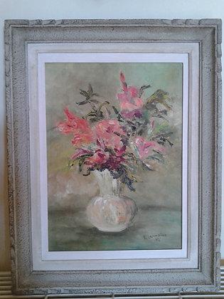 Huile sur carton signée, bouquet. Ref.0581