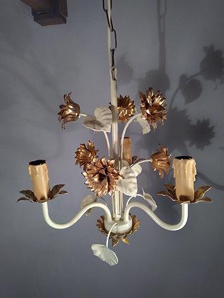 Lustre 3 branches métal laqué beige et or