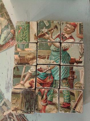 Jeu de cubes bois XIXe. Ref.0244