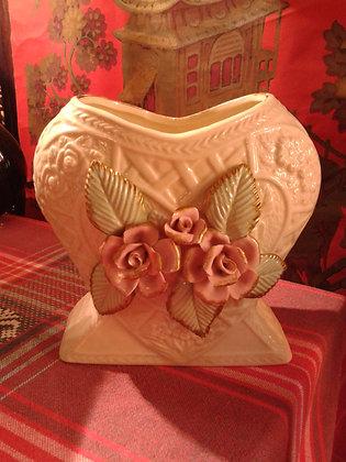 """Vase """"Coeur"""" faïence et barbotine. Ref.0422"""
