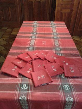 Grande Nappe +12 serviettes rouges .Ref.S0300