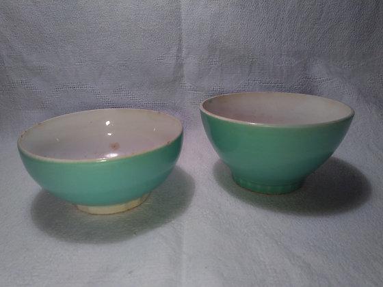 Ensemble de 2 bols vintage verts
