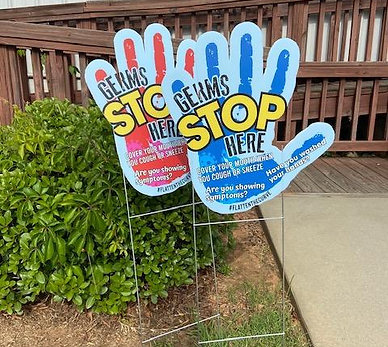 """Germs Stop Here"" Hand Yard Signs"