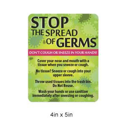 """Stop Germs"" PVC Sign"