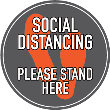 Grey/Orange Social Distancing Floor Decal
