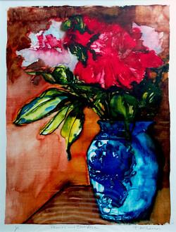 Peonies and Blue Vase