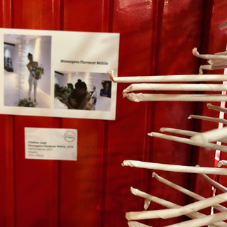 Móbile exposto na Bienal de Arte Têxtil 2019 registro fotográfico