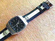 preloved SEIKO watch with upcycled handmade bicycle tyre watchbelt