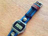 preloved CASIO watch with upcycled handmade bicycle tyre watchbelt available on ETSY