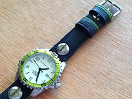 preloved MOMENTUM watch with upcycled handmade bicycle tyre watchbelt