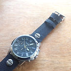 preloved BIXDA watch with upcycled handmade bicycle tyre watchbelt available on ETSY