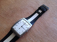preloved SKAGEN watch with upcycled handmade bicycle tyre watchbelt available on ETSY
