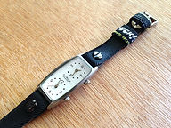 preloved watch with upcycled handmade bicycle tyre watchbelt available on ETSY