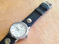 preloved CASIO watch with upcycled handmade bicycle tyre watchbelt