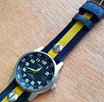 preloved TIMEX watch with upcycled handmade bicycle tyre watchbelt available on ETSY