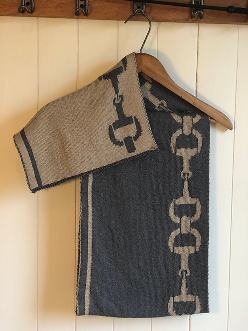 Foulard écolo réversible gris et beige