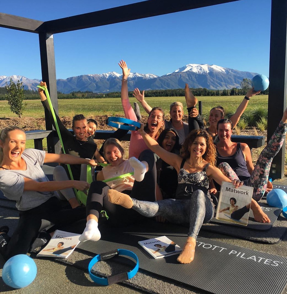 pilates training in New Zealand with snow capped mountains a beautiful view