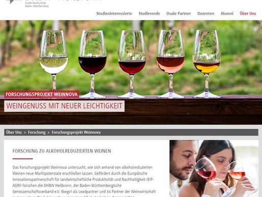 "Partner des alkoholreduzierten Forschungsprojekts ""Weinnova"" der DHBW Heilbronn"