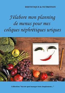 Livre de planning de menus vierge pour les coliques néphrétiques calciques