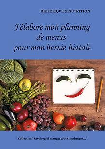 Livre de planning de menus diététiques vierge pour l'hernie hiatale