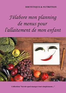 Livre de planning de menus vierge pour la femme allaitante