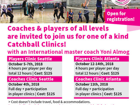 Coaches and Players clinics in Saettle and Atlanta Oct 2018
