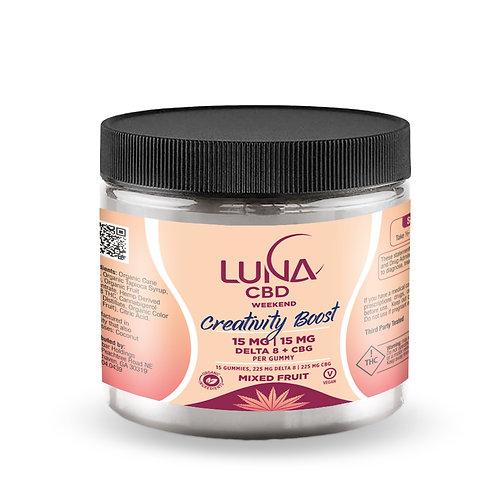 Luna Weekend CREATIVITY BOOST D8+CBG Gummies, 15mg+15mg, 15ct