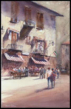 Maccagno cafe scene - SOLD