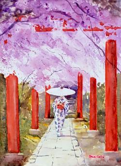 Geisha strolling in garden