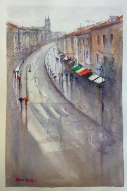 Wet morning in Warsaw