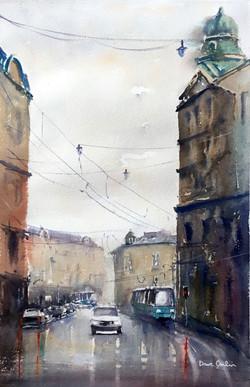 A wet morning in Krakow