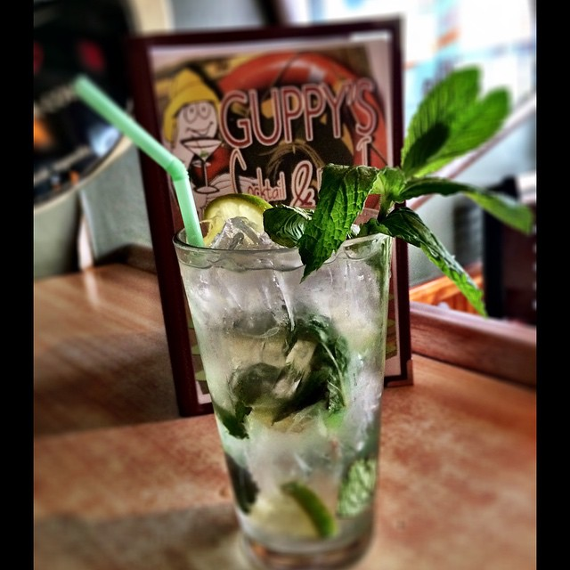 Fresh mint muddled MOJITOS are back at Guppy's ..