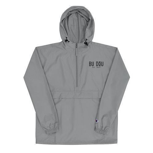 BU DOU Black Logo Embroidered Champion Packable Jacket