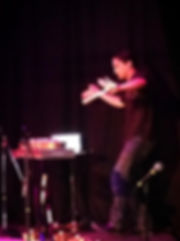 Dancing whil performing live.