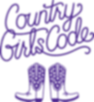 Country Girls Code logo purple words and
