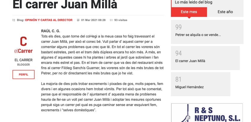 Nuestro alumno Raul Cerezuela en el diario Carrer