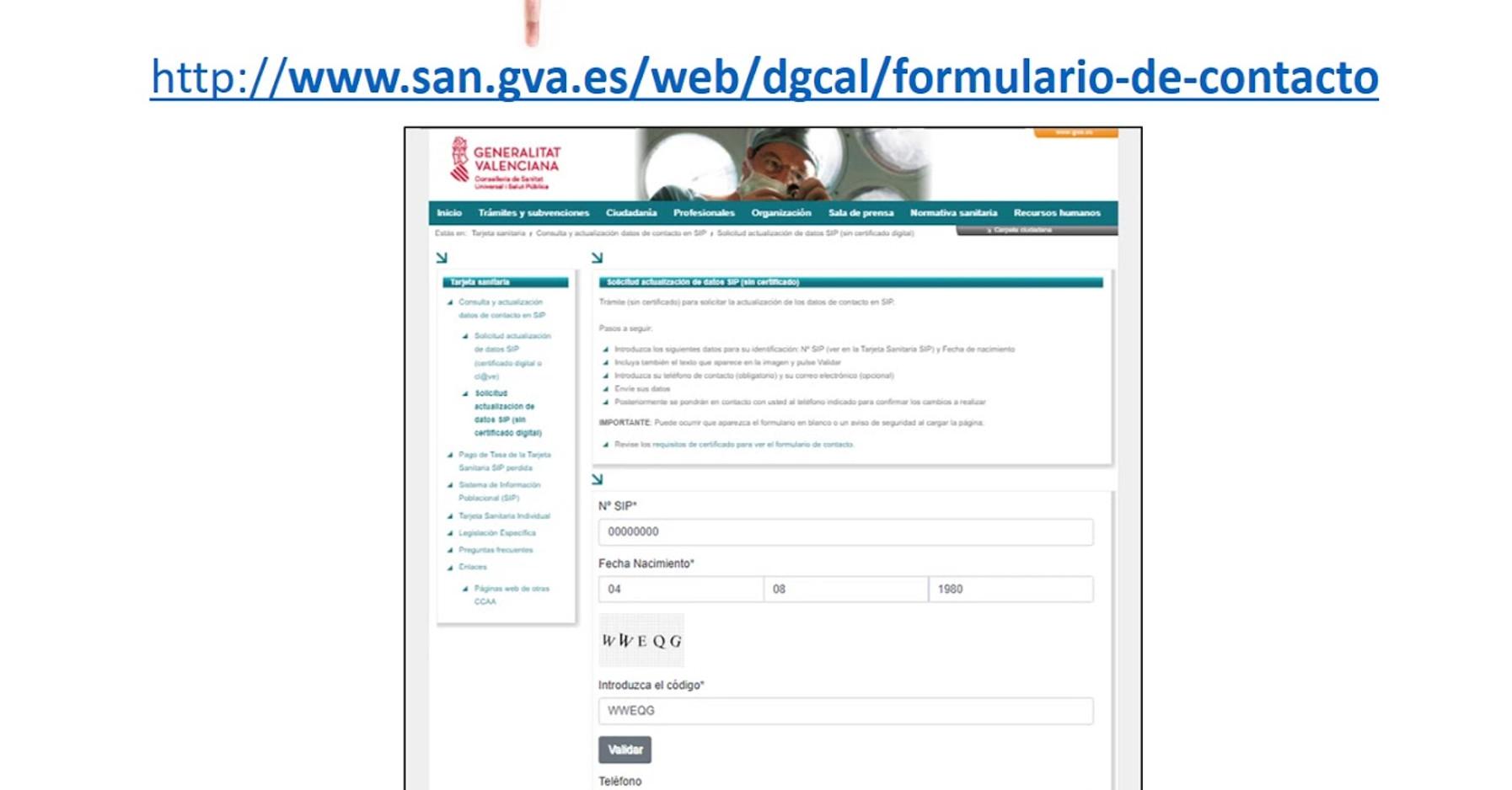 Petición de actualización de teléfono en la SIP por Salud Pública