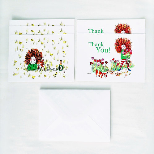 Curly Cath Thank You Flat Note cards