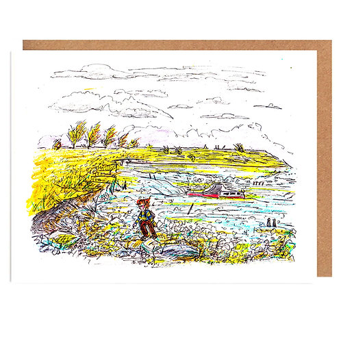 A blustery day for Beach combing card