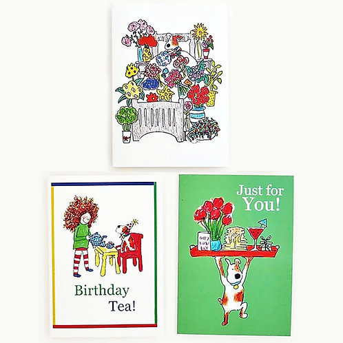 Curly Cath Flowers + Friends A6 Cards - singles + 6 card pack available
