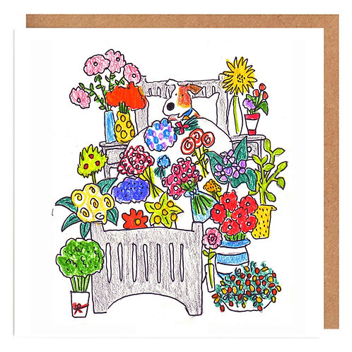Curly Cath and The Flower Bed card