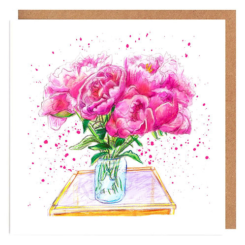 Peonies on the Table card