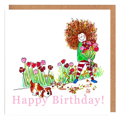 Curly Cath and the Flowers card