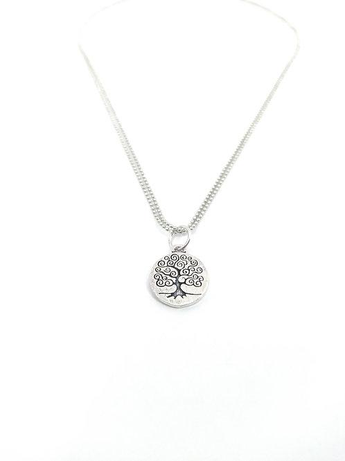Collar de cadena de bolas bañadas en plata con colgante Árbol de la Vida