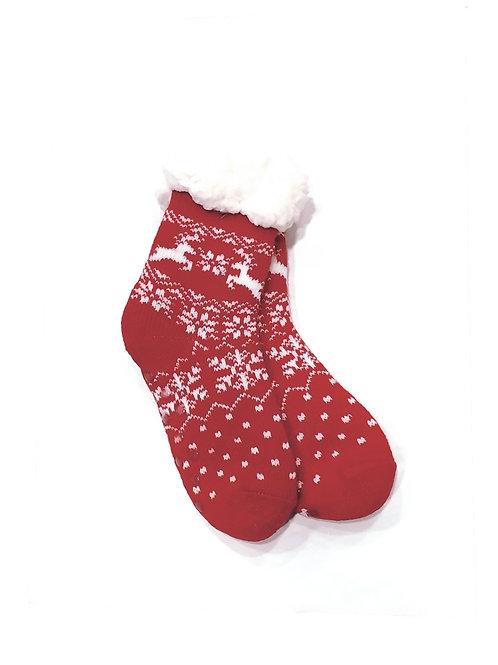Calcetines invierno anti-deslizantes rojo/blanco